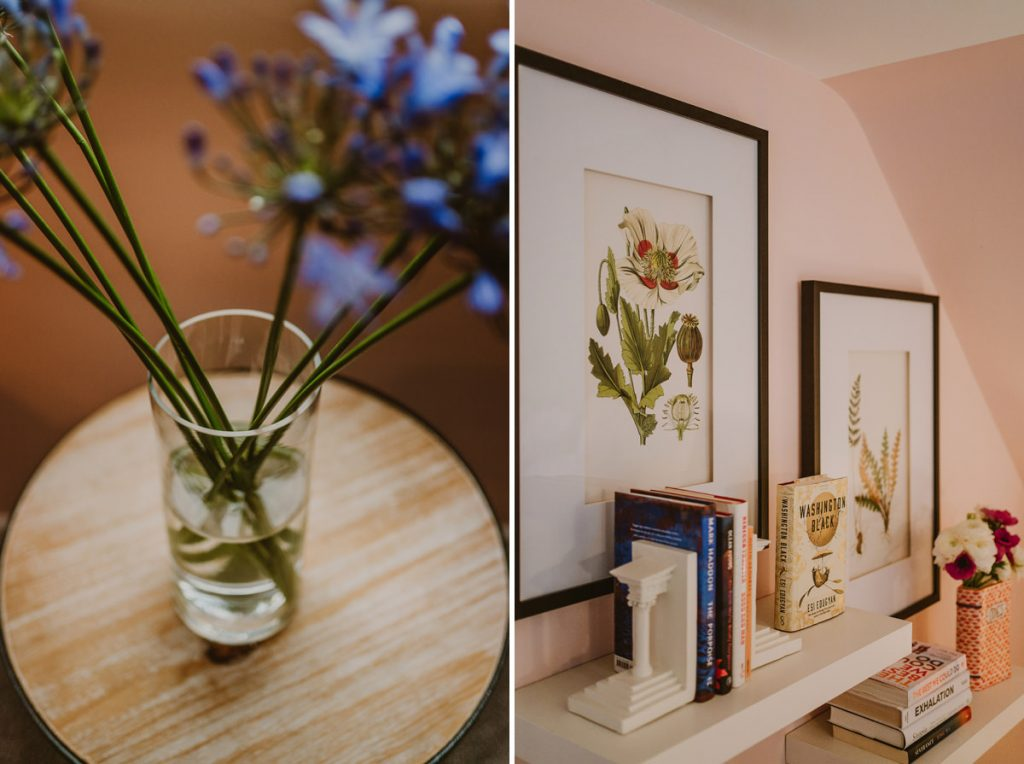 cottage bookshelf and flowers